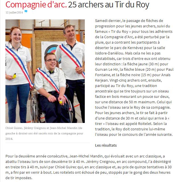 Le Télégramme du 11/07/2014